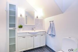 Alakerran wc-tila on kauniin vaaleasävyinen.