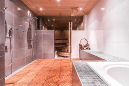 Reilunkokoiset sauna- ja pesutilat.