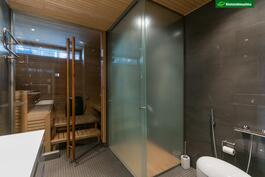 Kylpyhuoneessa on laadukkaat kalusteet, mm. Alessin suunnittelema wc