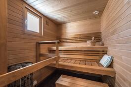 Ikkunallinen sauna, pystykivikiuas, led-valot