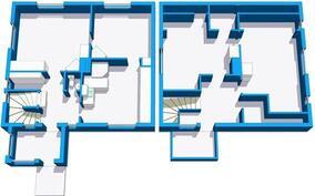 Vasemmalla alakerta, oikealla yläkerta.