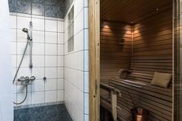 Raikas suihkunurkkaus ja sauna,