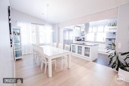 Olohuone, ruokailutila ja keittiö yhtenäistä avointa tilaa