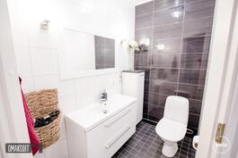 Tyylikkäässä wc:ssä yhdistetty tummaa ja vaaleaa laattaa