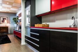 Alakerrasta avautuu sitten oma erillinen saunaosasto, jonka yhteydessä toimiva keittiö viinikaappeineen..