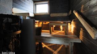 Sauna jossa puukiuas