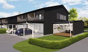 Upea ja iso terassialue kodin vierellä ja autokatos asunnon edessä ovat mahtava lisä!