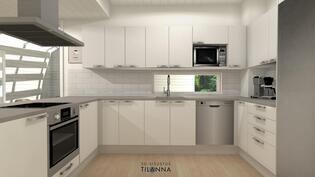 Tämä on esimerkki toimivasta keittiöstä. Keittiö on täysin muokattavissa omiin tarpeisiin sopivaksi.