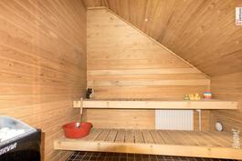 Yläkerrassa oleva sauna ja muutkin pesutilat saneerattu 2014