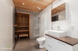 Tunnelmallinen kylpyhuone.