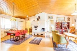 Olohuone ja keittiö samassa tilassa
