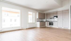 Keittiö ja olohuone ovat yhtä isoa tilaa.