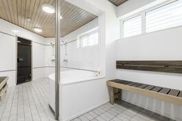 Pukeutumistilasta kylpyhuoneeseen (Saunaosasto)