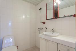 yläkerran wc ja suihku, tulossa uudet kaapistot
