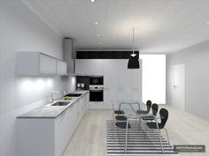 Visualisoitu kuva keittiö vaihtoehto 1