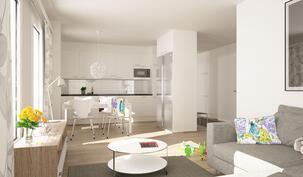 Arkkitehdin näkemys 73,5 m2 kolmiosta, kuvassa voi esiintyä lisähintaisia materiaaleja