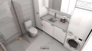 Kylpyhuoneessa on kaikki tarvittava