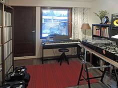 Alakerran makuuhuone nyt musiikkihuoneena, sieltä käynti terassille