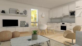 Yhtenäinen ja avara olohuone-keittiö on tämän kodin viihtyisä keskus