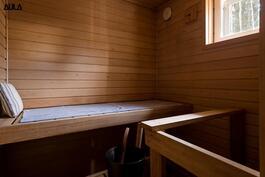 Viihtyisässä saunassa on sähkökiuas.