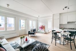 yhtenäinen olohuone ja keittiö