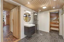 Alakerrassa 2011 remontoitu saunaosasto, ikkunalliset sauna ja kylpyhuone sekä pukuhuone.
