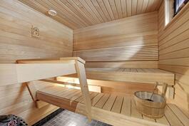 Sauna, jonka ikkunasta tuuletus hoituu helposti.