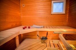 Tilavassa saunassa nautit ihanasta löylyn lämmöstä.