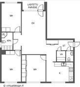 Hyvin suunnitellut neliöt ja 2 wc:tä