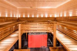 Taloyhtiön sauna uima-allasosaston yhteydessä