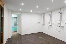 Taloyhtiön saunan pesuhuone uima-allasosaston yhteydessä