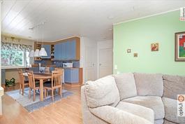 Yhtenäistä tilaa keittiö/olohuone