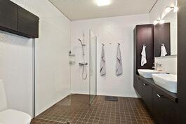 Päämakuuhuoneen oma kylpyhuone/ Eget badrum för master bedroom.