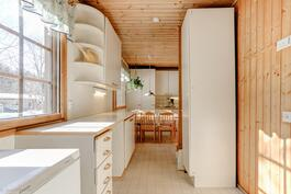 Kodinhoitohuonetilasta käynti ulos, saunaan ja keittiöön.
