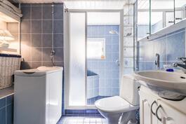 Päätalon kylpyhuoneessa on suihku ja tilaa pyykinpesukoneelle.