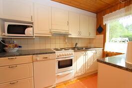 täysin nykyaikainen keittiö kivitasoineen jne. on astianpesukone, mikro, hella jne.