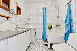 Tilava kylpyhuone, istuma-amme/ Rymligt badrum med sittbadkar.