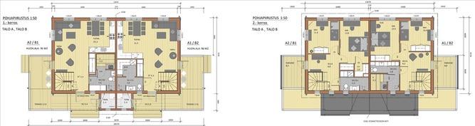 Pohjakuva vaihtoehdot 2 ja 3, kahdella makuuhuonee