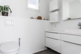 Yläkerran erillinen wc, jossa on liiketunnistimella toimivat valaisimet