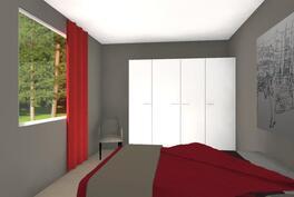 Suuntaa antava kalustekuva tulevasta makuuhuoneestasi (14,8m²)
