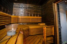 Sauna on suuri, täällä nautitaan mahtavista löylyistä