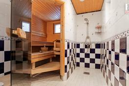 Alakerran sauna ja pesuhuone