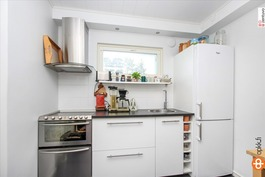 Uudenaikainen keittiövarustelu talon länsipäädyssä