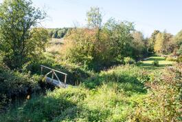 Saukonoja kulkee tontin reunaa, sillan kautta pääsee laajalle puistoalueelle.