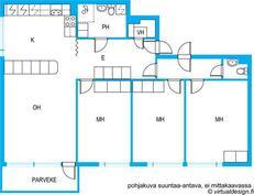 Olohuone ja keittiö yhtenäistä tilaa.