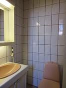 Kuvassa yläkerran asiallinen laatoitettu wc.