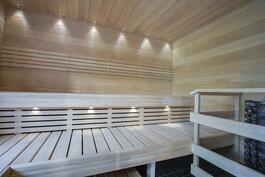 tilava sauna ikkunalla