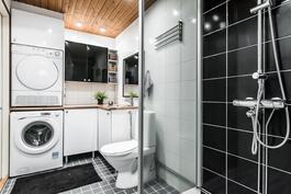 Kylpyhuoneosasto on remontoitu.