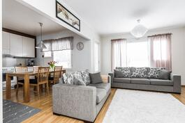 Olohuone ja keittiö ovat nykyaikaisesti samaa tilaa.