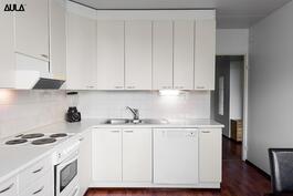 Toimivassa keittiössä on reilusti kaappi- ja laskutilaa.
